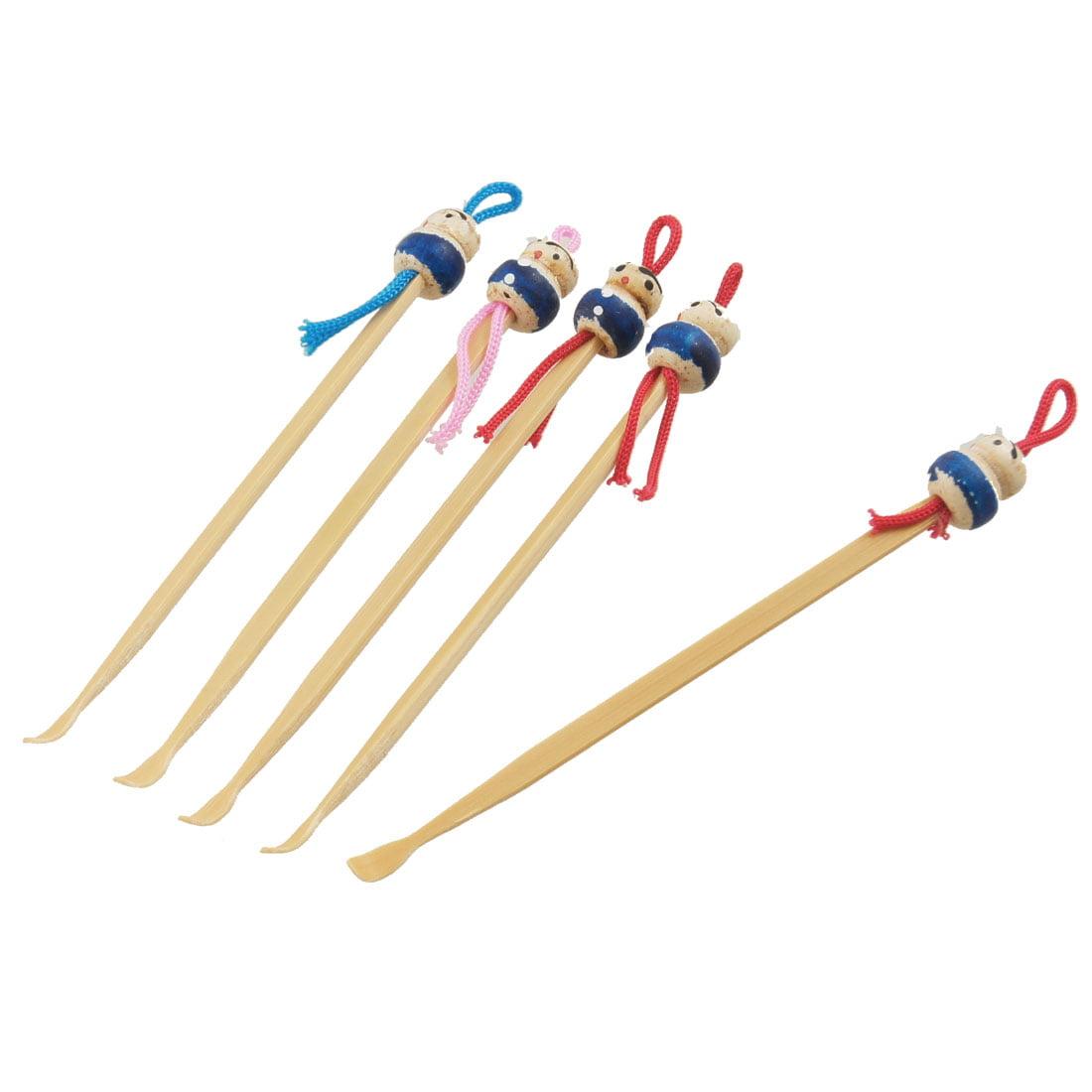 Unique Bargains Unique Bargains Bamboo Ear Pick Spoon Curette Ear Wax Remover Cartoon Doll Decor 5 Pcs