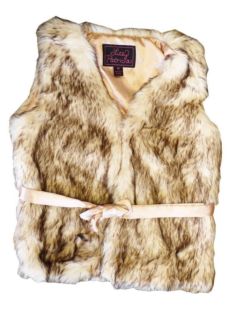 Little Girls Crystal Fox Faux Fur Vest 5-6
