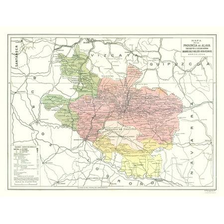 Map Of Spain To Color.International Map Alava Province Spain Pompido S Atlas 1913