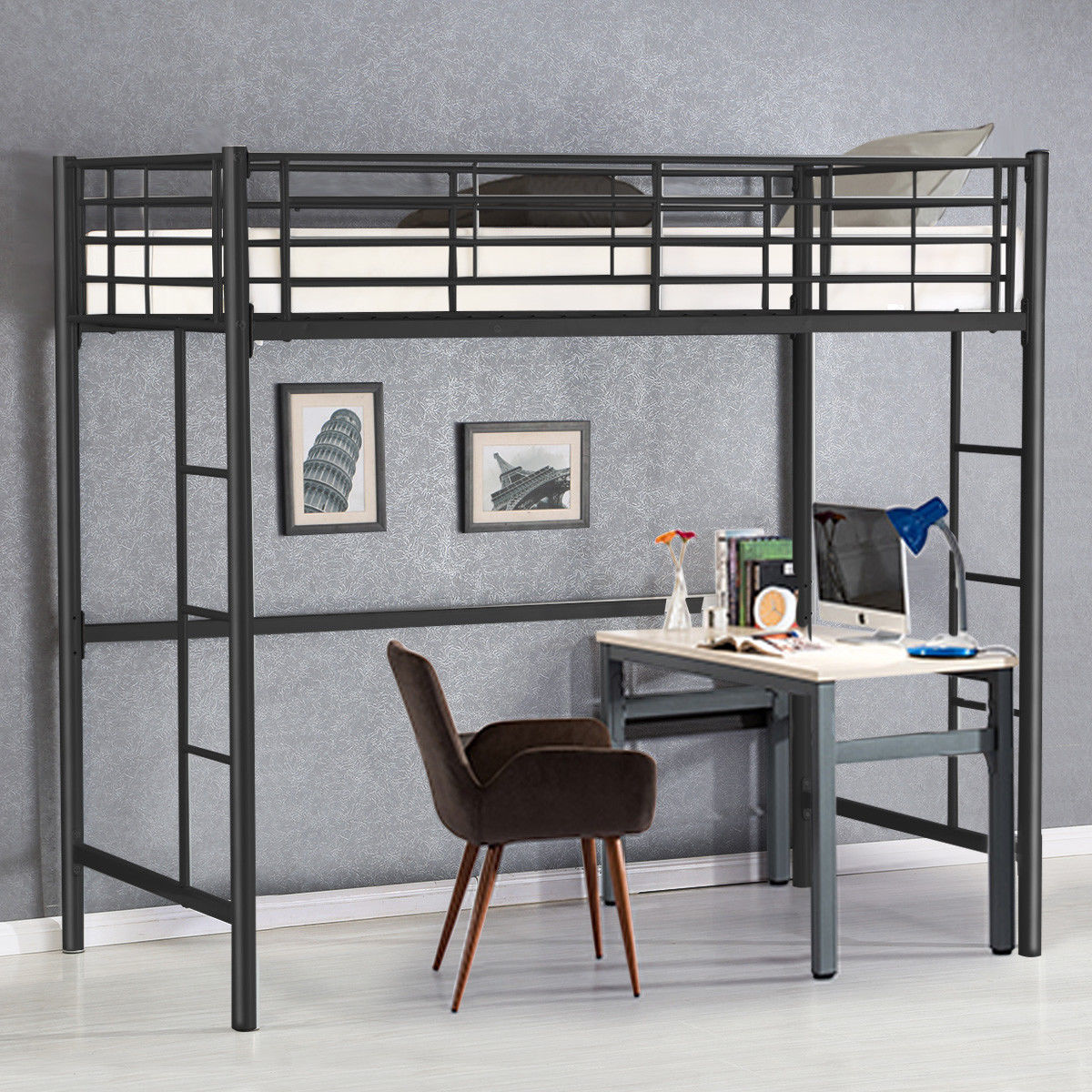 Gymax Twin Loft Bed Metal Bunk Ladder Beds Boys Girls Teens Kids Bedroom Dorm Black