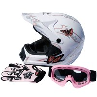 TCMT DOT Adult Motorcycle Helmet Pink Butterfly White with Goggles+gloves for Atv Mx Motocross Offroad Street Dirt Bike L Size