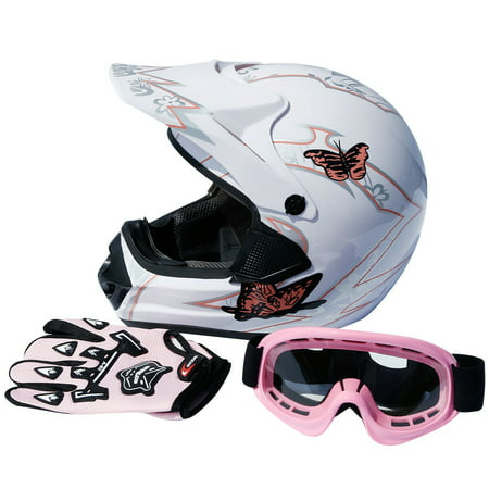 TCMT DOT Adult Motorcycle Helmet Pink Butterfly White with Goggles+gloves for Atv Mx Motocross Offroad Street Dirt Bike L Size ()