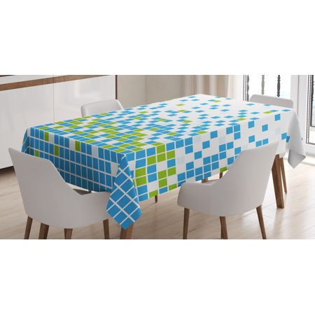 Modern Tablecloth, Mosaic Grid Pattern Pixel Art Digital Design Graphic Squares Illustration, Rectangular Table Cover for Dining Room Kitchen, 60 X 84 Inches, Lime Green Aqua White, by Ambesonne