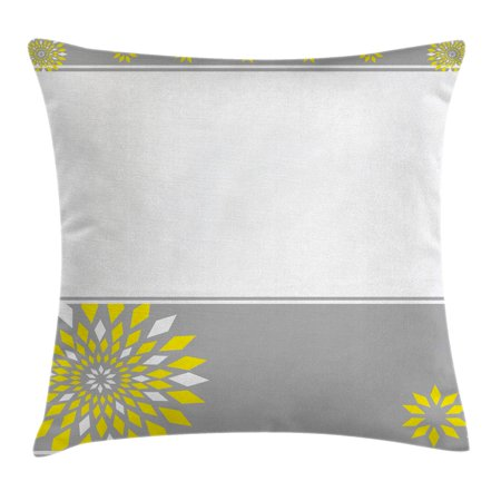 Grey and Yellow Throw Pillow Cushion Cover, Modern Futuristic Border with Geometric Flower Frame, Decorative Square Accent Pillow Case, 18 X 18 Inches, Light Grey White and Marigold, by Ambesonne