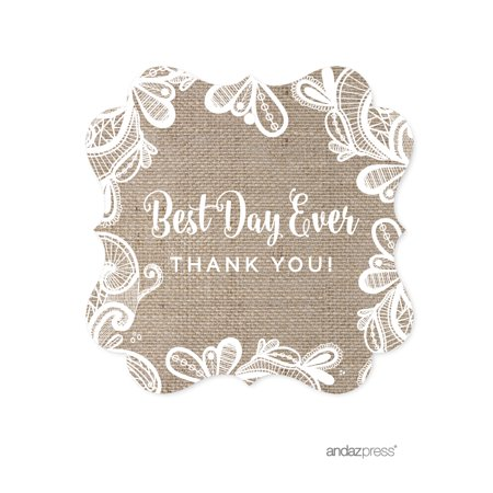 Burlap Lace Wedding Fancy Frame Gift Tags, 24-Pack