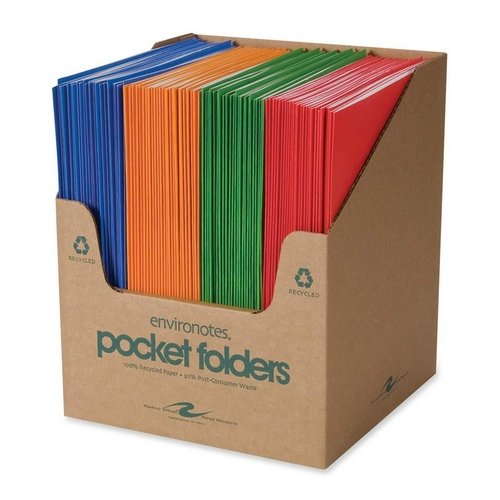 "Roaring Spring Fashion Colors Embossed Two Pocket Portfolio - 9.50"" X 11.75"" - 2 Pockets - Paper - Assorted - 100 / Carton (ROA50201)"