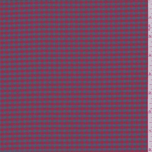 Cherry Red/Grey Gingham Check Silk Taffeta, Fabric By the Yard