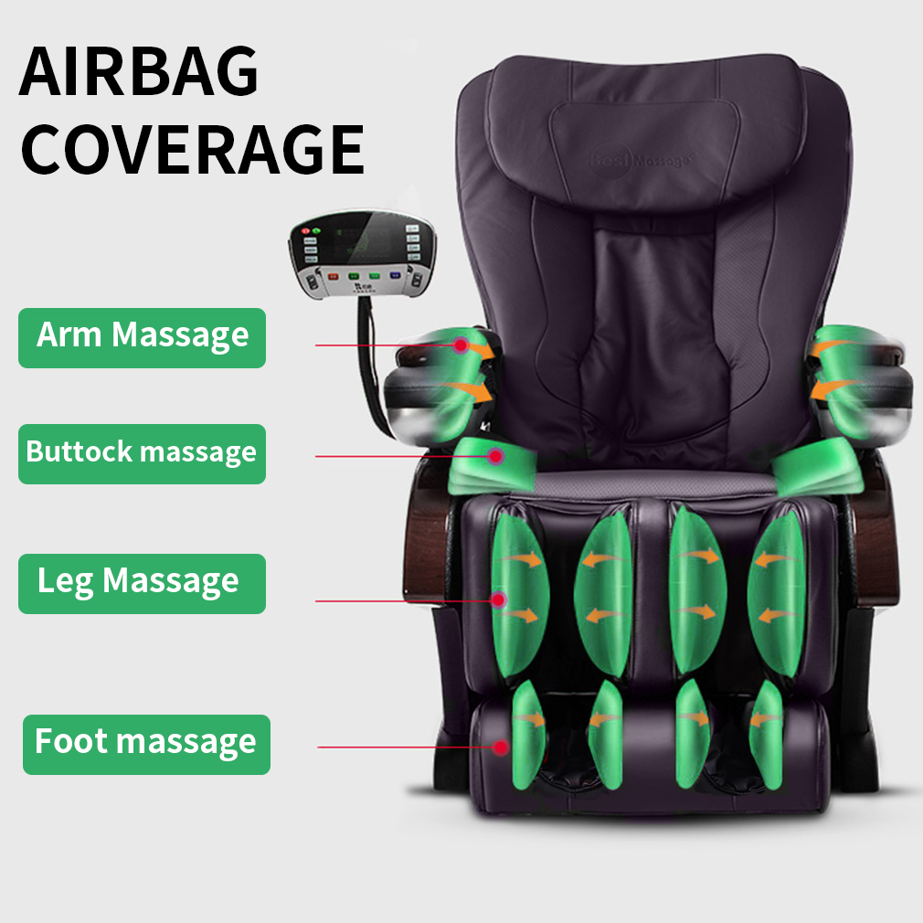 Full Body Electric Shiatsu Massage Chair Recliner With Built In Heat Therapy Air Massage System Stretch Vibrating For Home Office Living Room Brown