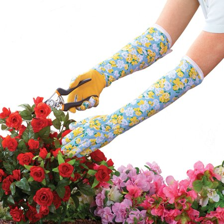 - Long Sleeve Floral Garden Gloves, Blue