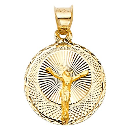 14k 3-Tone Gold Polish 3/4 inch Jesus Pendant Crucifix Religious Charm Medal Necklace Round Circle (14k Gold Crucifix Charm)