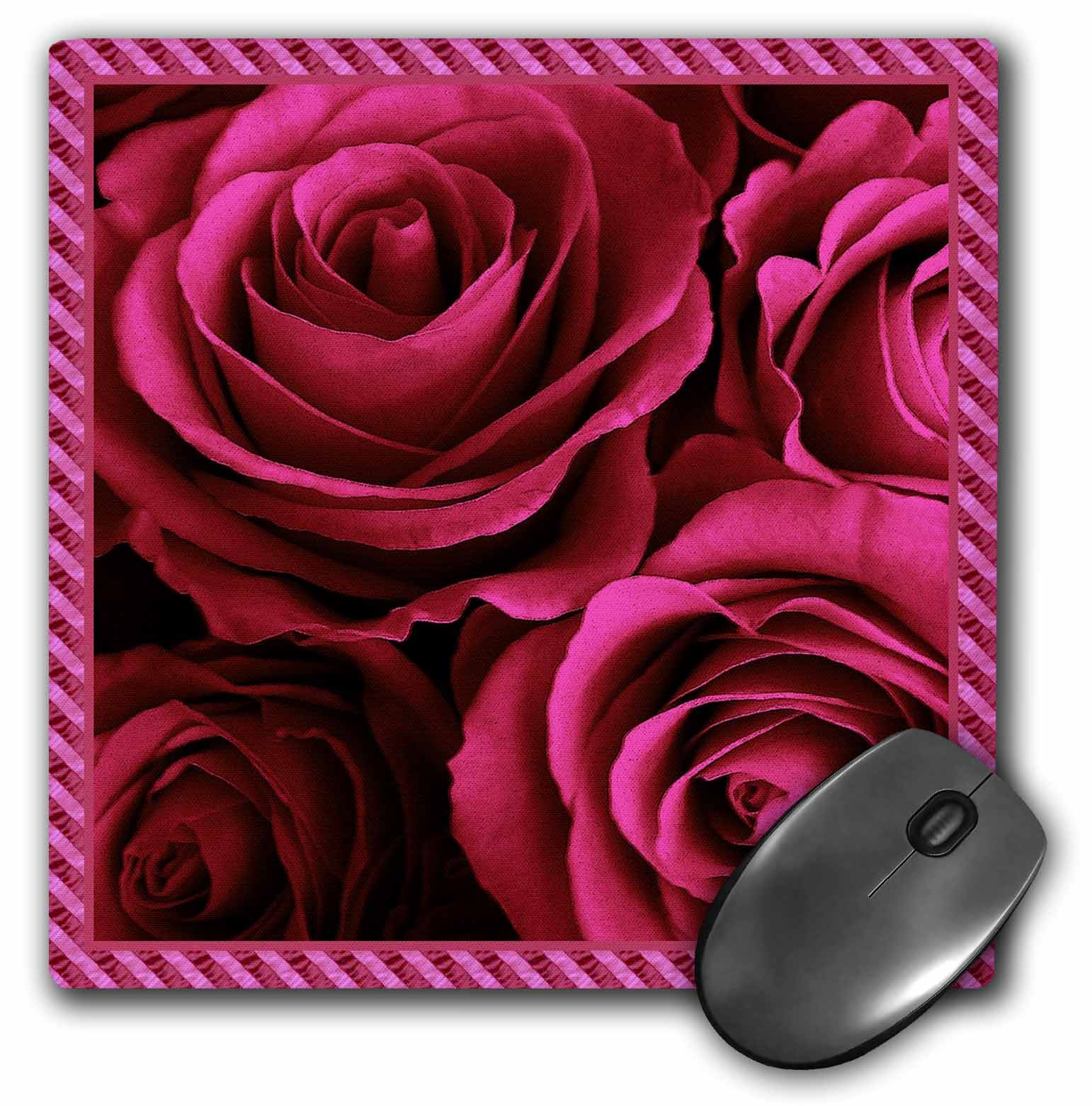 3dRose Close up scene of dreamy rich red roses surrounded by a striped frame, Mouse Pad, 8 by 8 inches