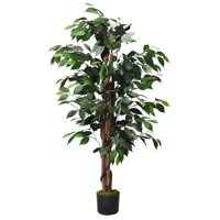Costway 4 Feet/6 Feet Artificial Ficus Silk Tree Wood Trunks Green In/Outdoor Home Decor