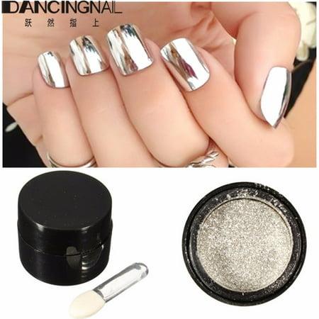 5g Silver Mirror Effect Powder Metallic Nail Glitter Shining Dust Chrome Pigment