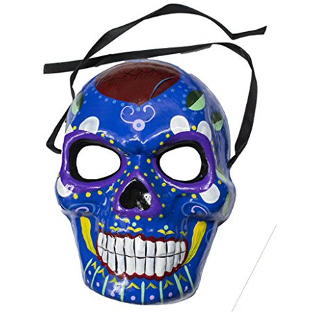 Jacobson Hat Company Men's Dia De Los Muertos Full Size Skull Mask (Blue) ()