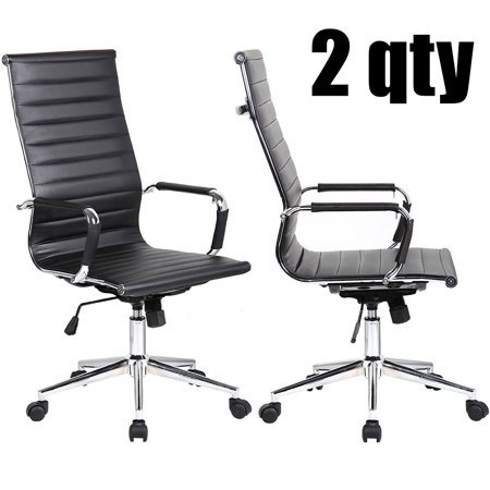 Surprising 2Xhome Set Of 2 Designer Boss Pu Leather With Arms Wheels Swivel Tilt Adjustable Executive Manager Mid Century Office Chair High Back Ribbed Modern Lamtechconsult Wood Chair Design Ideas Lamtechconsultcom