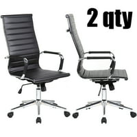 2xhome - Set of 2 Designer Boss PU Leather with Arms wheels Swivel Tilt Adjustable Executive Manager Mid Century Office Chair High Back Ribbed Modern Work Task Computer Black Desk Chair