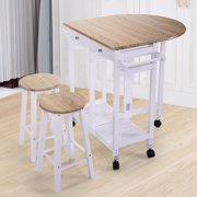 Island table with stools oak wood kitchen island rolling trolley cart storage dinning table stools set white finish watchthetrailerfo