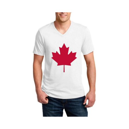 Canada Flag Canadian Maple Leaf Men's V-Neck Short Sleeve T-Shirt
