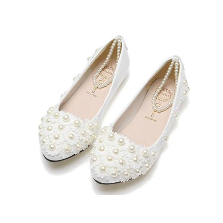 Chic Women White Lace Wedding Shoes Pearls Ankle Strap Bridal Flats Pointed Slip-on Shoes