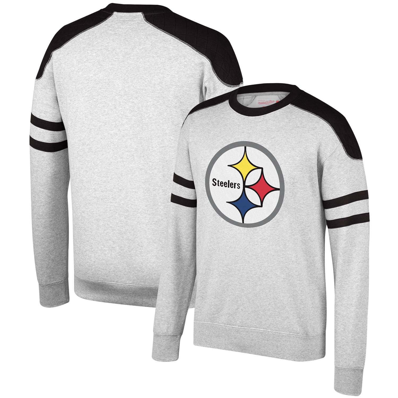 Pittsburgh Steelers Mitchell & Ness Post Season Run Crew Sweatshirt - Heathered Gray