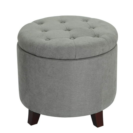 Adeco Fabric Cushion Round Button Tufted Lift Top Storage Ottoman Footstool, Height 17 Inches Gray Palms Fabric Footstool