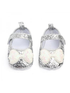 Tinymills Autumn Baby Girl Anti-Slip PU Casual Walking Shoes Sequin Bow Design Sneakers Soft Soled First Walkers Princess Shoes 0-18Month