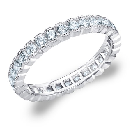 Blue Topaz Milgrain Ring - 1 CT Diamond, 1 CT Diamond Eternity Anniversary Ring with Milgrain