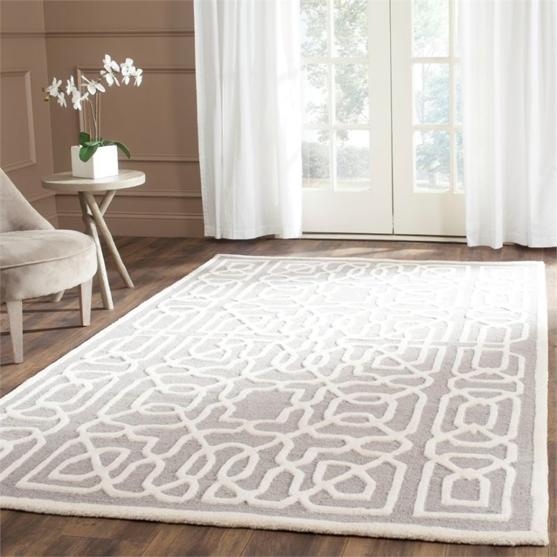 Safavieh Cambridge 6' X 9' Hand Tufted Wool Rug in Silver and Ivory - image 3 de 10