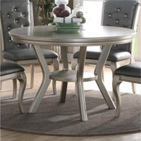 Benzara BM171263 30 x 48 x 48 in. Rubber Wood Round Dining Table with Bottom Shelf - Silver