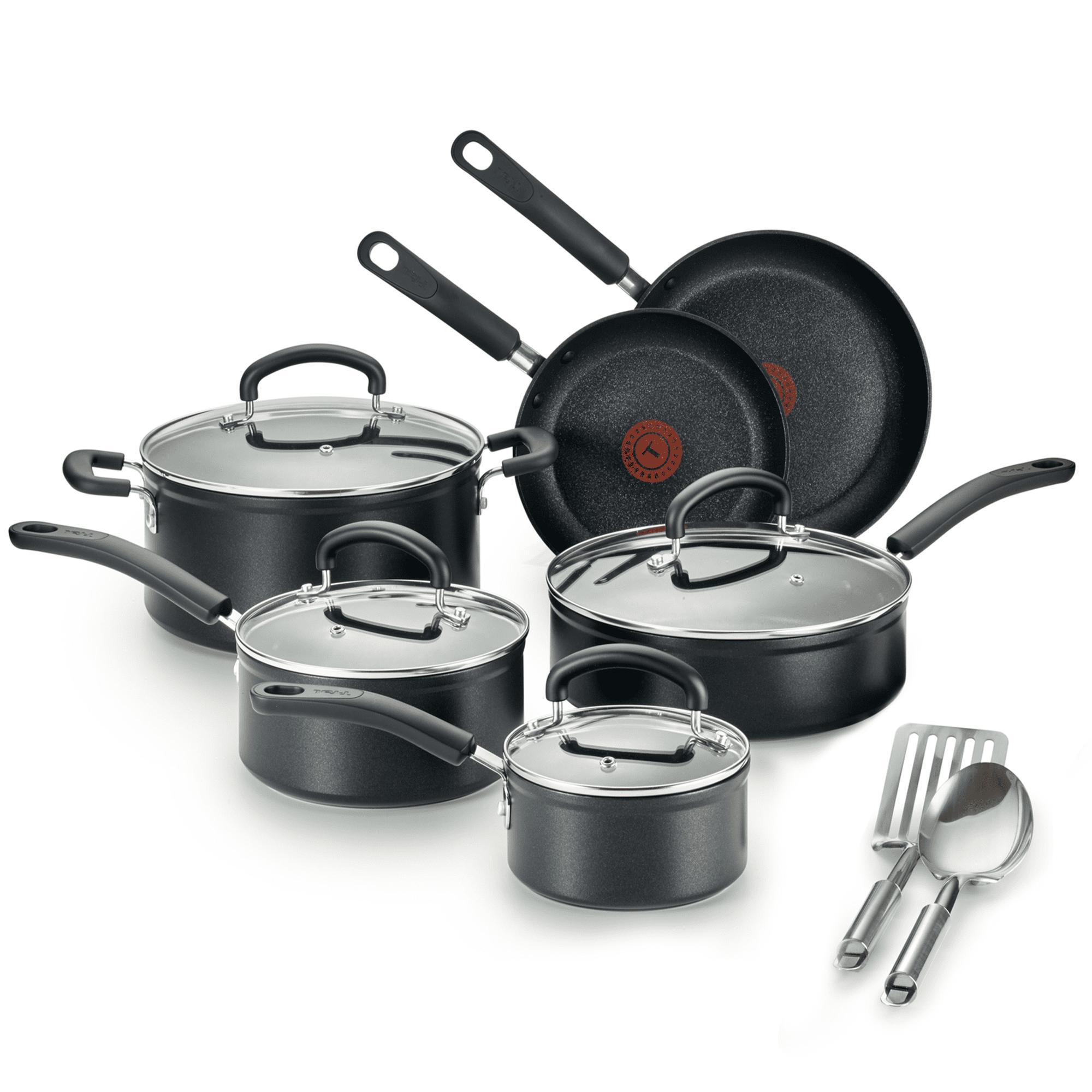 T Fal Excellence 12 Piece Titanium Nonstick Cookware Set Black Walmart Com Walmart Com