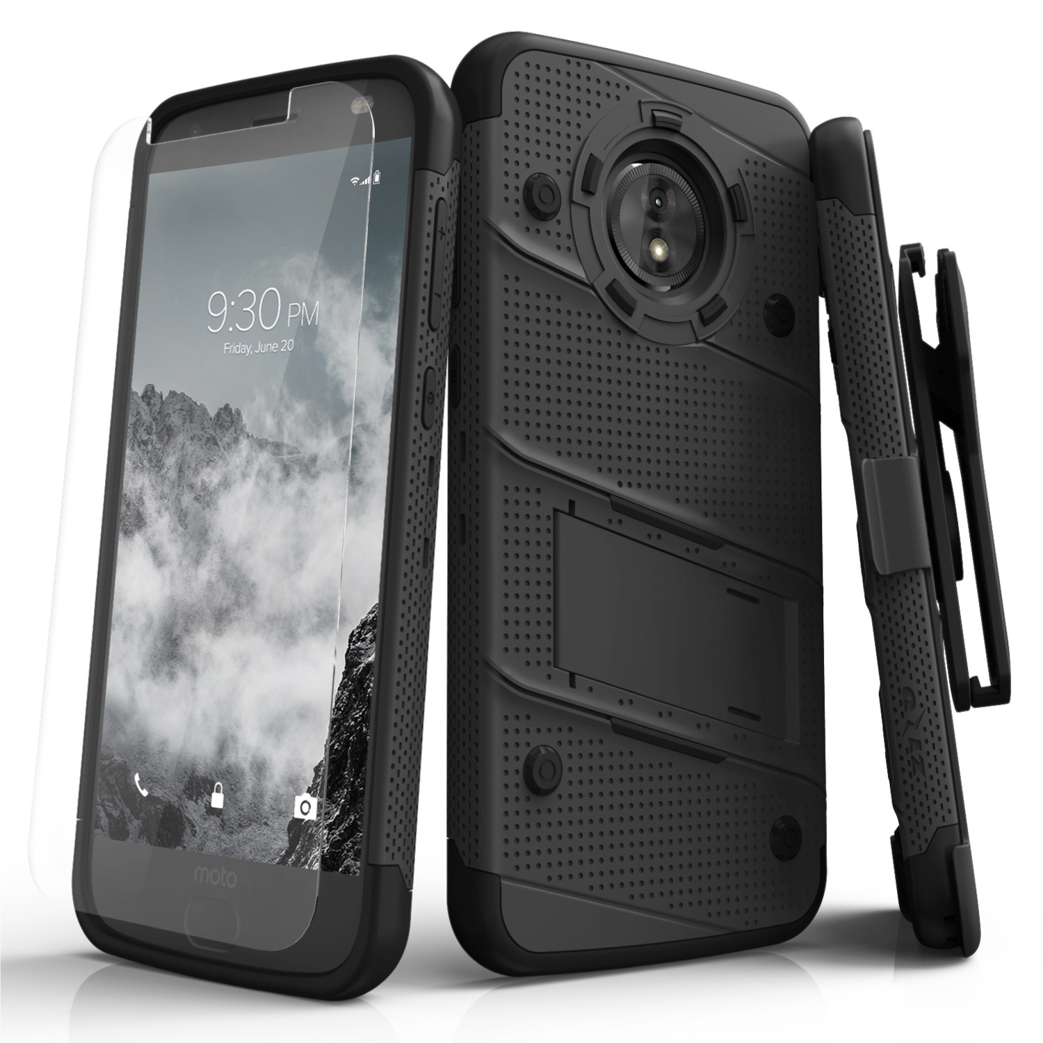 Zizo BOLT Series compatible with Motorola moto e5 Cruise Case Military Grade Drop Tested with Tempered Glass Screen Protector Holster e5 Play