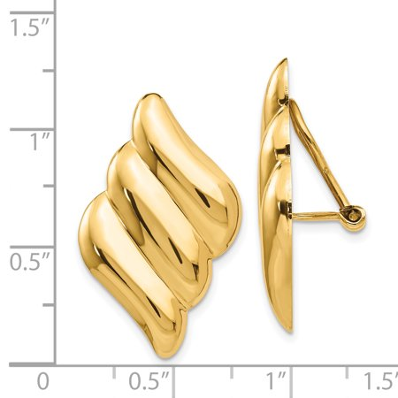 14K Yellow Gold Non-pierced Fancy Earrings - image 2 de 2