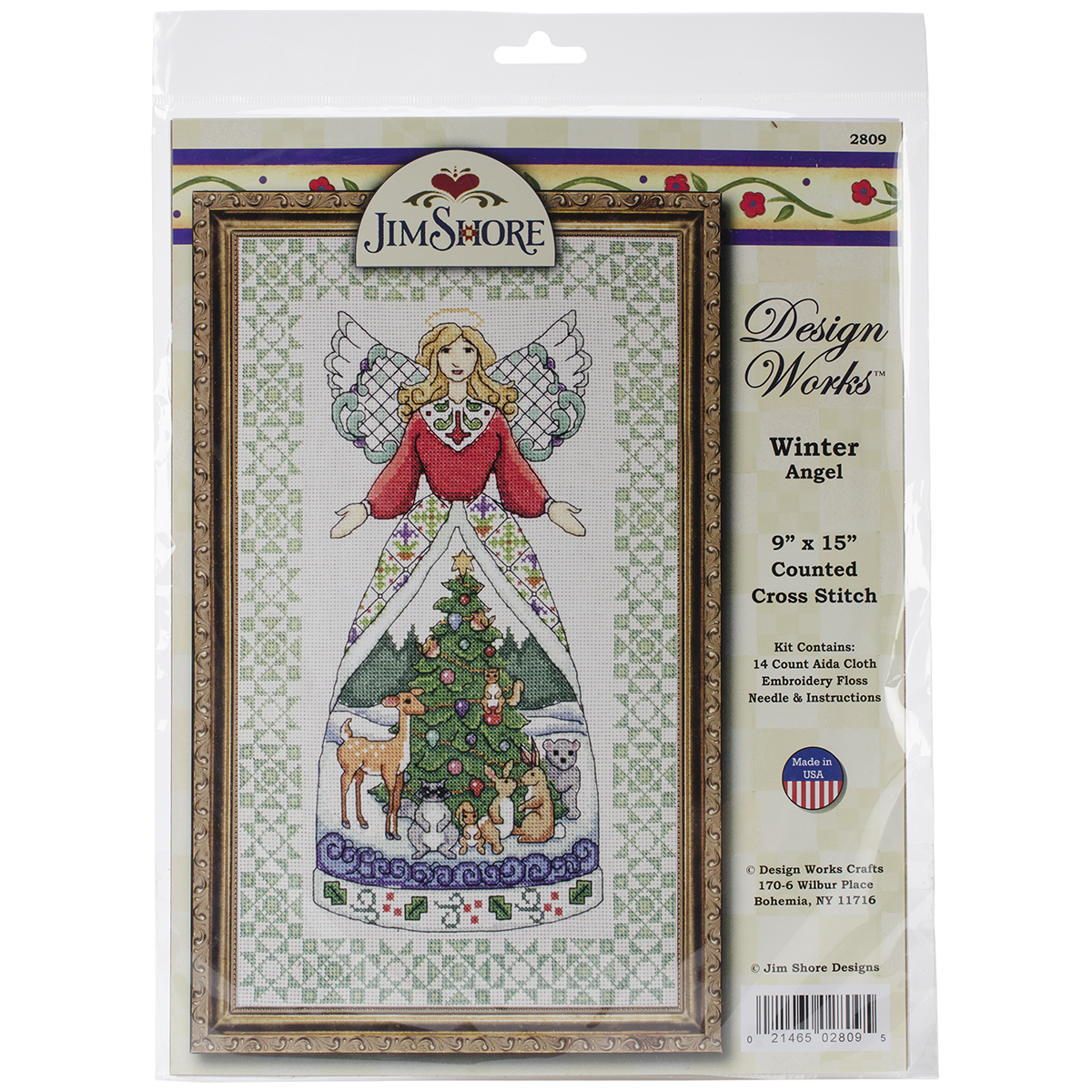 """Winter Angel-Jim Shore Counted Cross Stitch Kit, 9"""" x 15"""", 14-Count"""