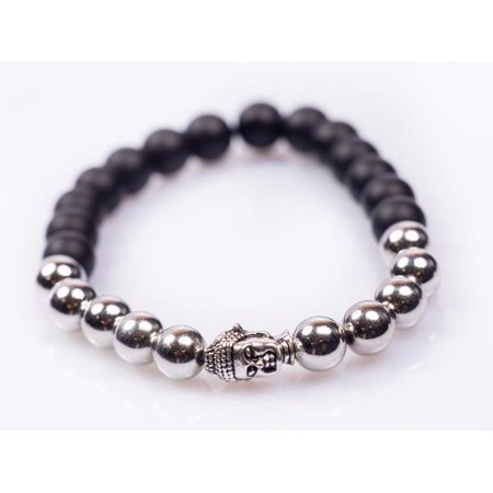 Black and Silver Buddha Bracelet ()