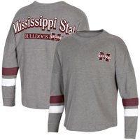 Women's Heathered Charcoal Mississippi State Bulldogs Fan Oversized Long Sleeve T-Shirt