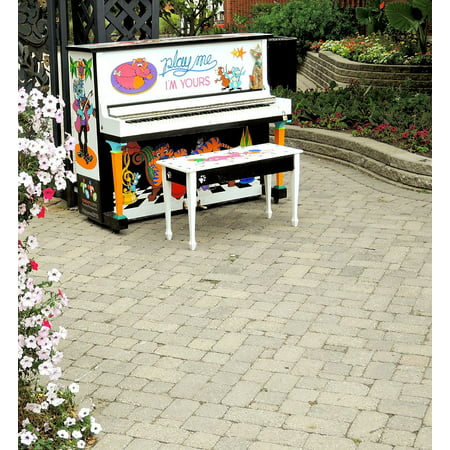 Canvas Print Flowers Music Ontario Outdoors Street Piano City Stretched Canvas 10 x 14 (Party City Ontario Ca)