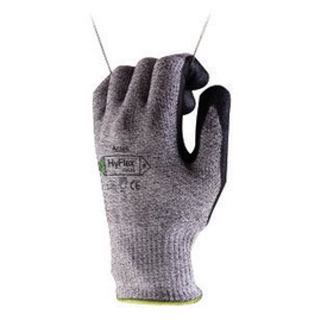 """Ansell Size 10 HyFlex 13 Gauge Medium Weight Cut And Abrasion Resistant Dark Gray Water Based Polyurethane Palm Coated Work Gloves With Gray Dyneema, Lycra, Nylon, Glass Fiber Liner And Knit Wrist"""