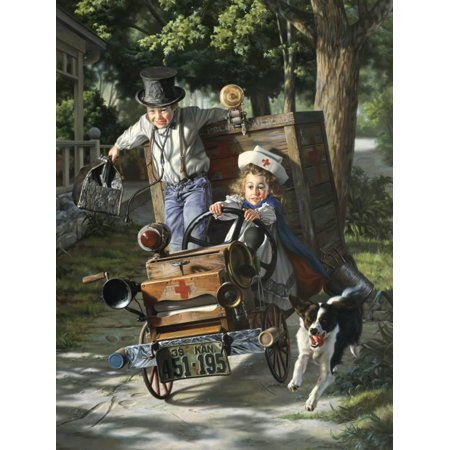 Help on the Way Classic Americana Painting of Children Painting Print Wall Art By Bob Byerley ()