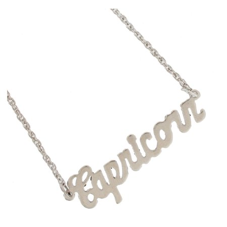 Capricorn Zodiac Sign Silver Tone Astrology Nameplate Pendant -