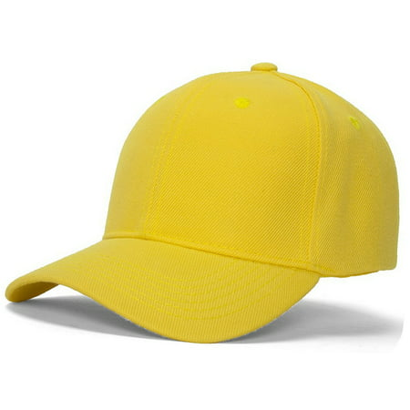 Men's Plain Baseball Cap Adjustable Curved Visor - Yellow Derby Hat