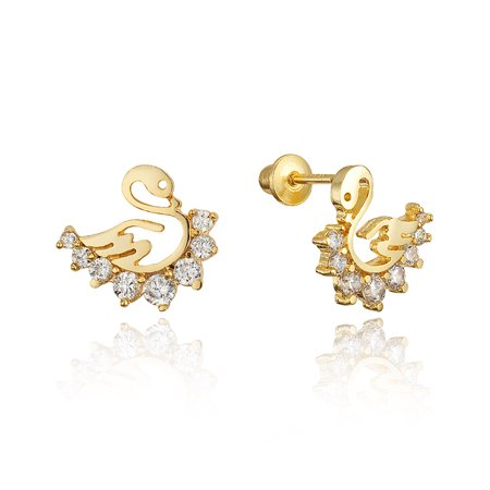 14k Gold Plated Br Swan Cubic Zirconia Back Baby S Earrings With Sterling Silver Post
