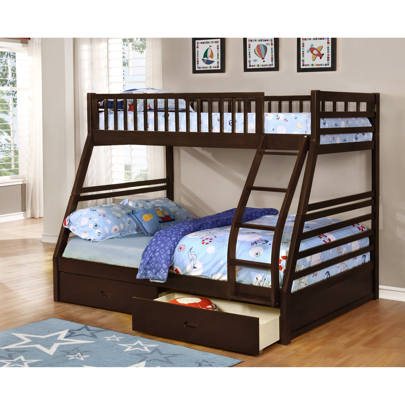 K&B Furniture B130E Twin Over Full Bunk Bed with Under Drawers
