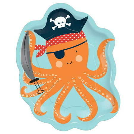 Pirate Party 'Ahoy Birthday' Octopus Shaped Small Paper Plates (8ct) (Pirate Paper)