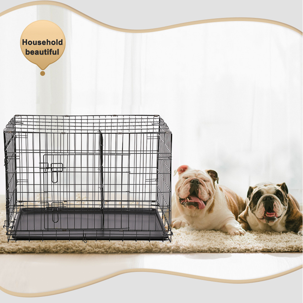 "BestPet 30"" Pet Kennel Cat Dog Folding Crate Wire Metal Cage W/Divider"