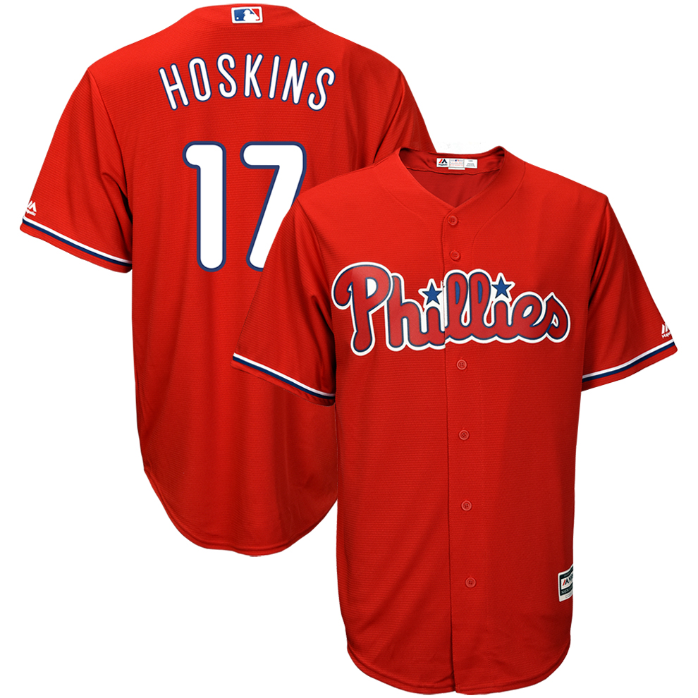 Rhys Hoskins Philadelphia Phillies Majestic Cool Base Player Replica Jersey - Red