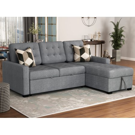 """Modern Sectional Sofas Sets with Chaise Lounge, 96""""x61""""x46"""" Upholstery Sleeper Contemporary Couch Soft Microfiber Sofa Beds, Chaise with Storage Function and Solid Frame, 900lbs, S1743"""