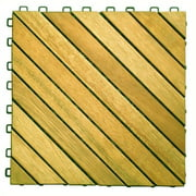 12 Diagonal Slat Acacia Interlocking Deck Tile (Teak Finish)