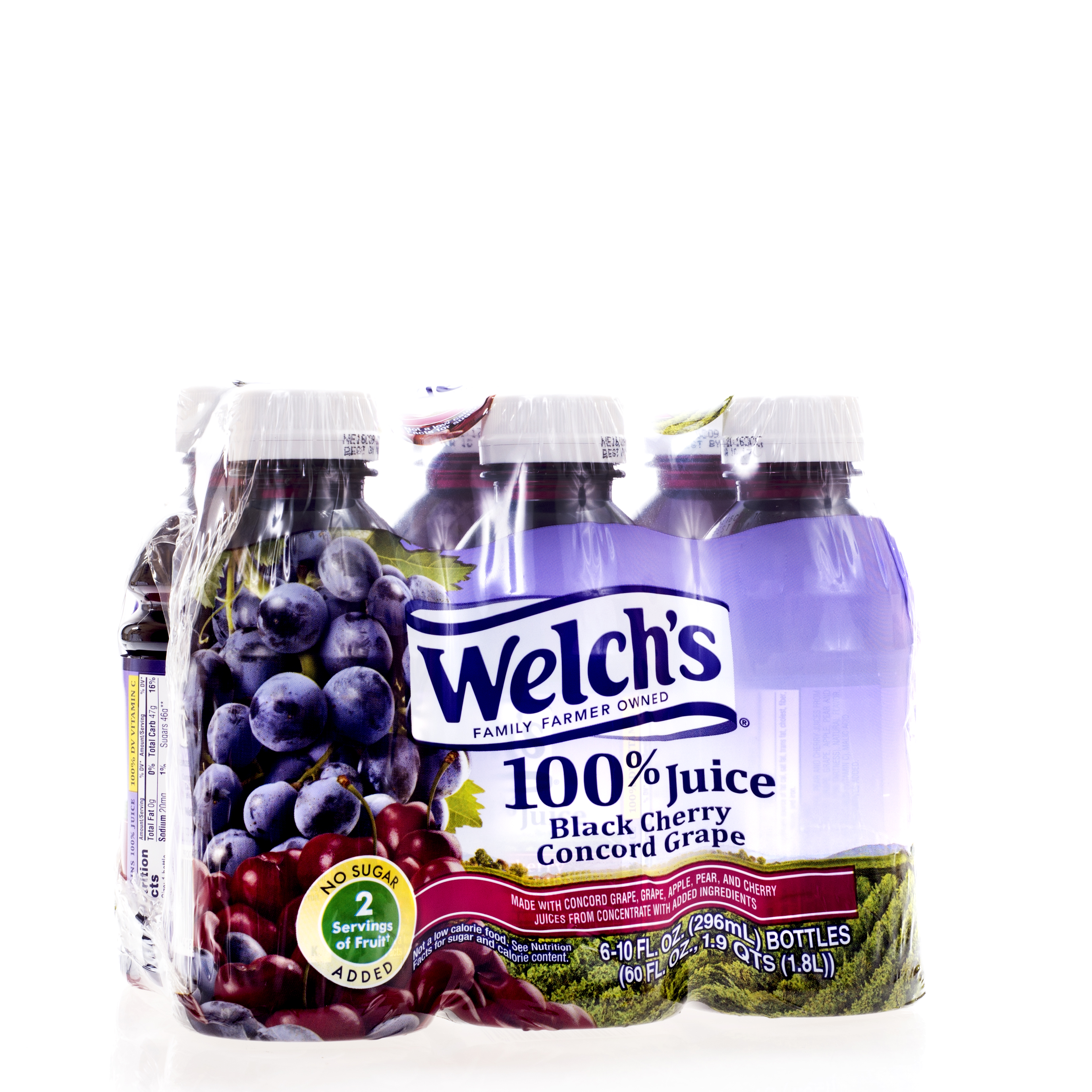 Welch's No Sugar Added 100% Black Cherry Grape Juice 6 Pack