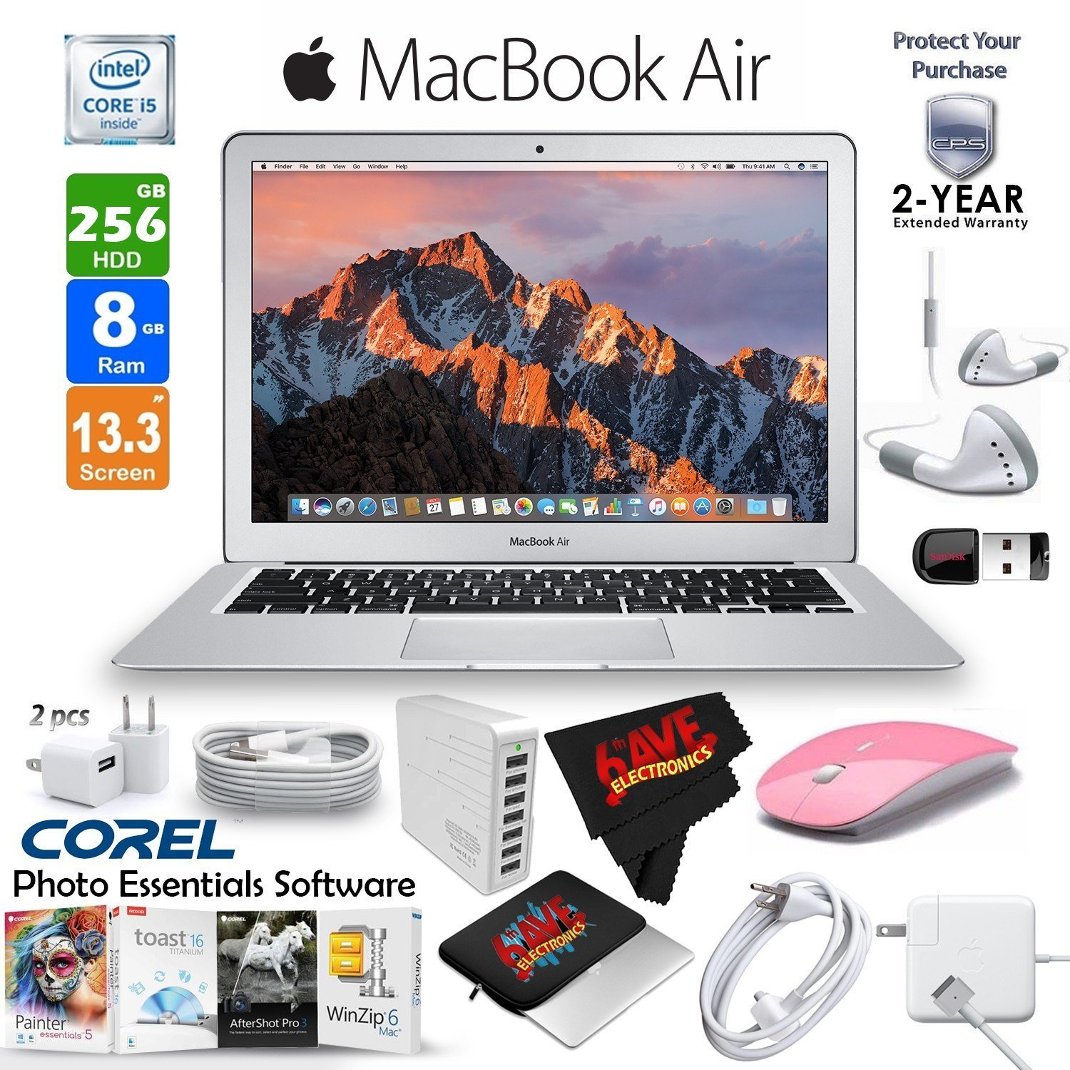 """6Ave Apple 13.3"""" MacBook Air 128GB SSD + Black 2.4 GHz Slim Optical Wireless Bluetooth Mouse + 2-Year Extended Warranty Bundle"""