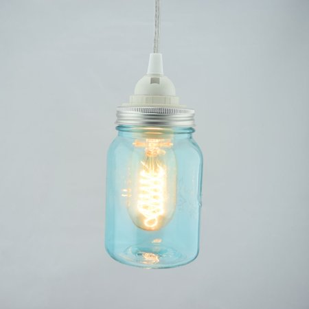 Fantado Water Blue Glass Mason Jar Pendant Light Kit, Regular Mouth, Clear Cord, 15FT by